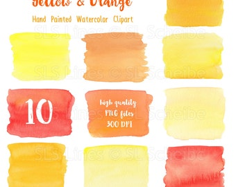 Yellow Orange watercolor boxes and rectangles, watercolor clipart squares in yellow-orange, graphic PNG files, instant download