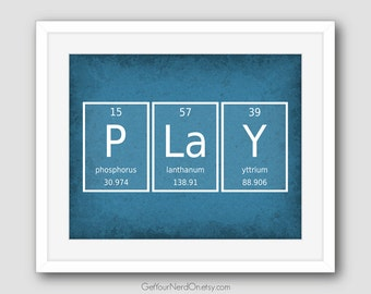 Periodic Element Word Poster - Play - Wall Art Print - Available as 8x10, 11x14 or 16x20