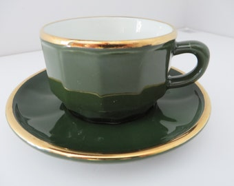 Apilco vintage 1980's tea cup and saucer, Apilco green, French vintage, Apilco porcelain, Tea, Cappuccino cup