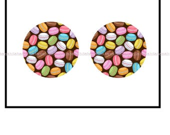 "2 cabochons glass ""Of macaroons"""