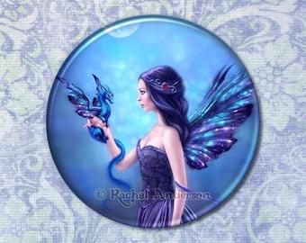 Iridescent Fairy & Dragon Art Pocket Mirror