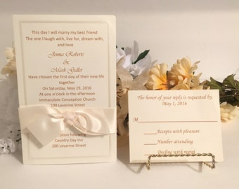 Ivory Invitation Set With Satin Ribbon For Wedding/Birthdays/Holidays