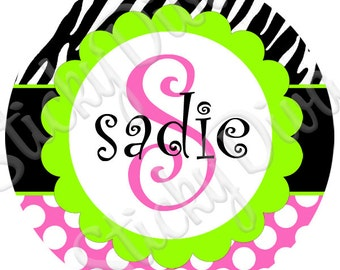 PERSONALIZED STICKERS - Custom Adorable Zebra and Pink Dots Personalized Labels - Round Gloss Labels