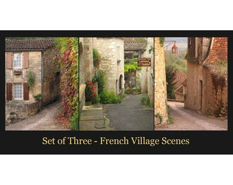 """SET OF THREE Complimenting Prints - Fine Art Color Travel Photography of France - """"French Village Scenes 1"""""""