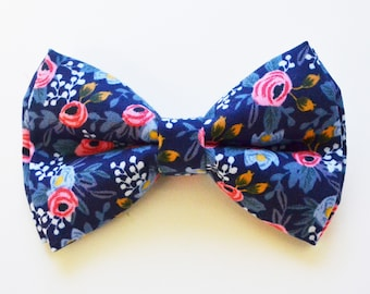 Navy Flower bow tie, boy bow tie, baby bow tie, adult bow tie, men's bow tie,navy bow tie, floral bow tie, wedding bow tie