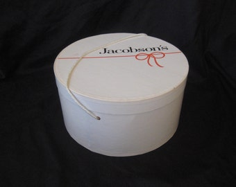 Large white hat box, vintage hat box, cardboard hat box, Jacobson's hat box