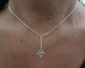 Hamsa hand lariat necklace with tiny infinity