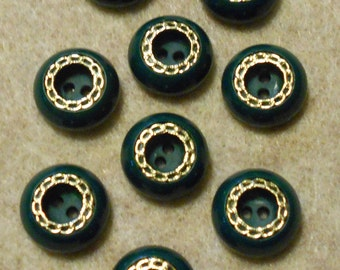 Set of 9  Green Plastic Buttons with a Gold Metal Trim-( 9/16 inch)-Item# 45