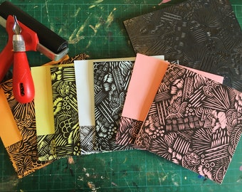 Abstract geometric linocut pattern printed notecards with matching envelopes
