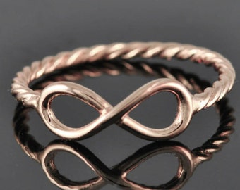 Gold infinity ring, love knot, sterling silver, best friend, promise ring,personalized ring, friendship, sisters, Bridesmaid Gift