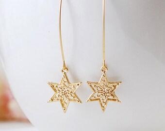 Gold Star Earrings. Shooting Star Earrings, Matte Gold Filigree Star Long Dangle Earrings, Star Jewelry, Wish Earrings