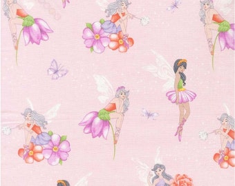 """Michael Miller Fabrics, """"Fairy Frolic"""", Fairies and Flowers on Soft pink, yard"""