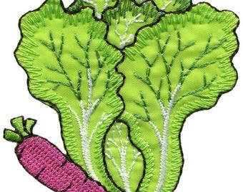 Carrot & cabbage veggies vegan embroidered applique iron-on patch