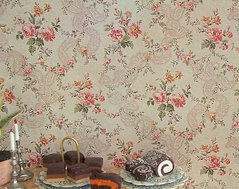 Dollhouse Miniature Wallpaper, Francoise, Scale One Inch