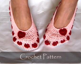 CROCHET PATTERN - Valentine Slippers Crochet Pattern House Slippers Womens Warm Winter Shoe Pattern Adult Sizes PDF - P0040