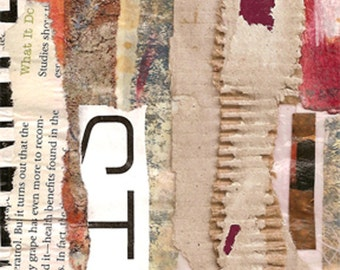"""Second Street - Original Collage with Weathered and Hand Drawn and Painted Papers 4 x 4 on 5 x 5"""" Backing"""