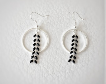 black and silver dangling earrings