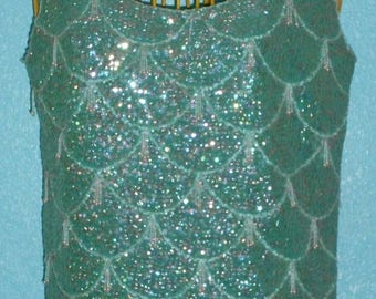 """1960s Aqua """"Harilela's"""" Sequined and Beaded Lambswool Ladies Shell Size Medium or 8-10"""