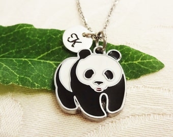 PANDA BEAR NECKLACE in silver tone - personalized with initial charm - choice of chains and length