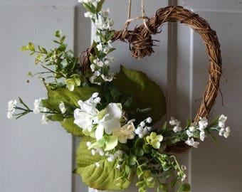 Heart Wreath, Garden Wreath, Wedding Heart Wreath, Ivory Wreath
