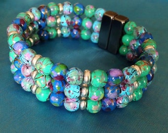 Ocean Blues Magnetic Bead Triple Magnetic Bracelet with Neodymium Magnet Extra~strength Clasp!