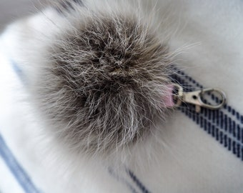 Fox fur pompom keychain, grey fur key ring, fur keychain