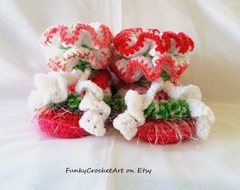 Crochet Slippers Handmade OOAK for Women