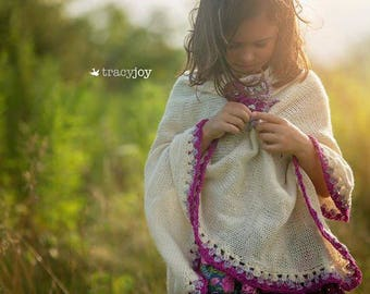 Asymmetric Knitted Poncho, Knit Poncho for Girls, Knitting