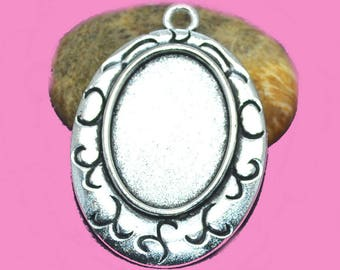 support for 25x18mm cabochon. Silver