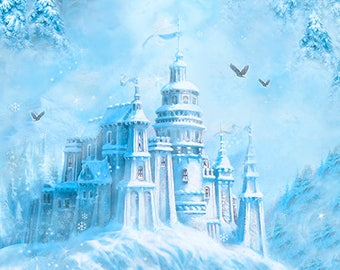 Ice Palace, Snow Castle, Magical Scenic - Digital Print, Artworks VI Liz Dillon for Quilting Treasures 26244 BZ - Priced by the Half Yard