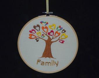 Handmade Family Tree Embroidery Hoop Wall Art