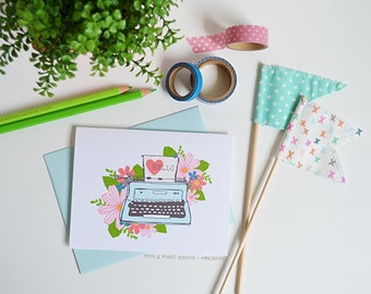 Hello Typewriter Floral, Set of FOUR Floral Folded Note Cards, Stationery, Hand Drawn, Illustration, Flowers, Flora, Notecards