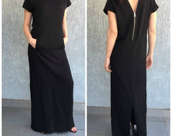 Black Maxi  Dress / Open Back Elegant Dress / Extravagant Women Dress / EXPRESS SHIPPING