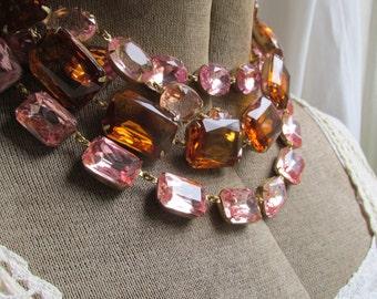 Anna Wintour necklace, pink statement necklace, pastel pink statement necklace, collet necklace, pink, statement necklaces.