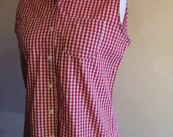 Vintage M&S (St Michael) red gingham sleeveless blouse, two pockets, size 14 rockabilly 50's