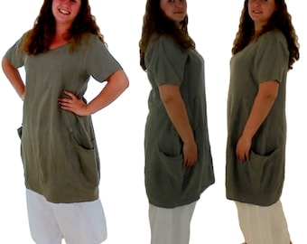 HE900GN40 layered look ladies dress linen balloon Tunic casual vintage used look short sleeve size 40 olive