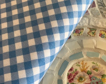Gingham Light Blue Fabric