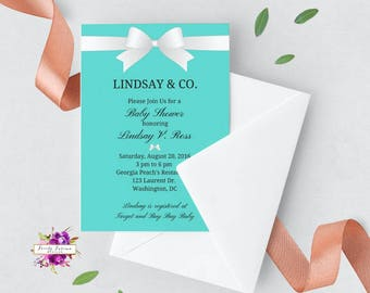 Teal Baby Shower Invitation - Baby and Co. - Audrey Hepburn - optional Book Card - Printable Invitation - Digital Invitation BEST SELLER