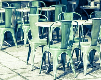 Paris Cafe Fine Art Photograph, Green Cafe Chairs, French Kitchen Decor, Travel Photograph, Large Wall Art