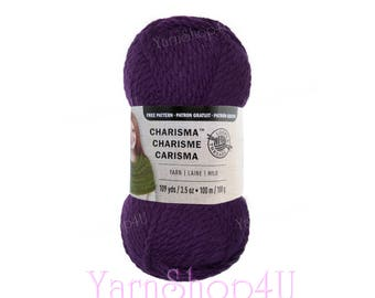 DARK PURPLE. Charisma Loops and Threads Yarn. This Textured Bulky Solid Purple acrylic Yarn. Textured and works up quickly! 3.5oz 109yd