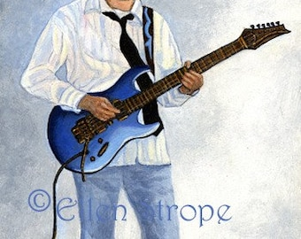 PRINTS, guitars, Giclee prints, guitar decor, playing guitar, Ellen Strope, blue, guitar prints