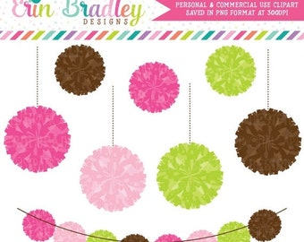 80% OFF SALE Preppy Pom Pom Garland Clipart Commercial Use Digital Clip Art Graphics
