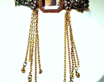 Velvet choker necklace with rhinestones, brass chains, and bells. OOAK Women's jewelry.
