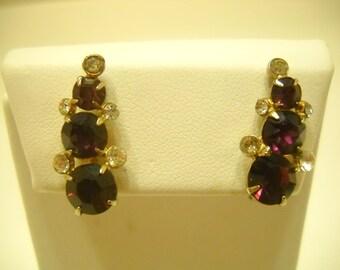 Vintage Coro Amethyst Screw Back Earrings (5855)