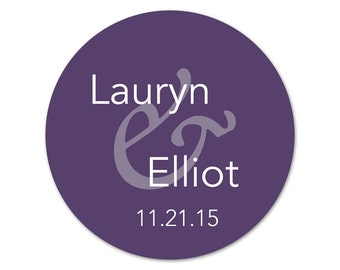 Personalized Wedding Stickers - Custom Wedding Favor Labels - Favor Stickers - Modern Wedding Labels - Choose Your Colors