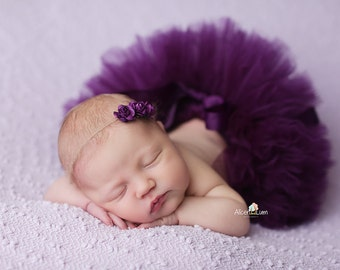 PLUM TUTU and Tieback Headband, More Color Available, Newborn Tutu, Baby Tutu, Newborn Photo Props, Tutus for Children, Tutu and Headband