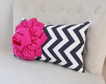 Pink and Navy Decorative Pillow, Chevron Navy Decor, Lumbar Pillow, Home Decor, Nursery Decor, Hot Pink and Navy Decor, Trending Home Decor