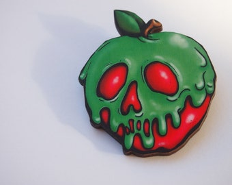 Poison Apple Snow White Laser Cut Wood Brooch