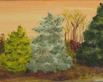 Landscape Original Painting  of   Evergreen Trees 8 x 16 inches - Kate Ladd Art