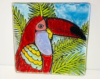 Fused Glass, Glass Plate, Parrot Plate, Parrot Decor, Parrot, Glass Parrot, Fused Glass Plate, Beach Decor, Tropical Decor